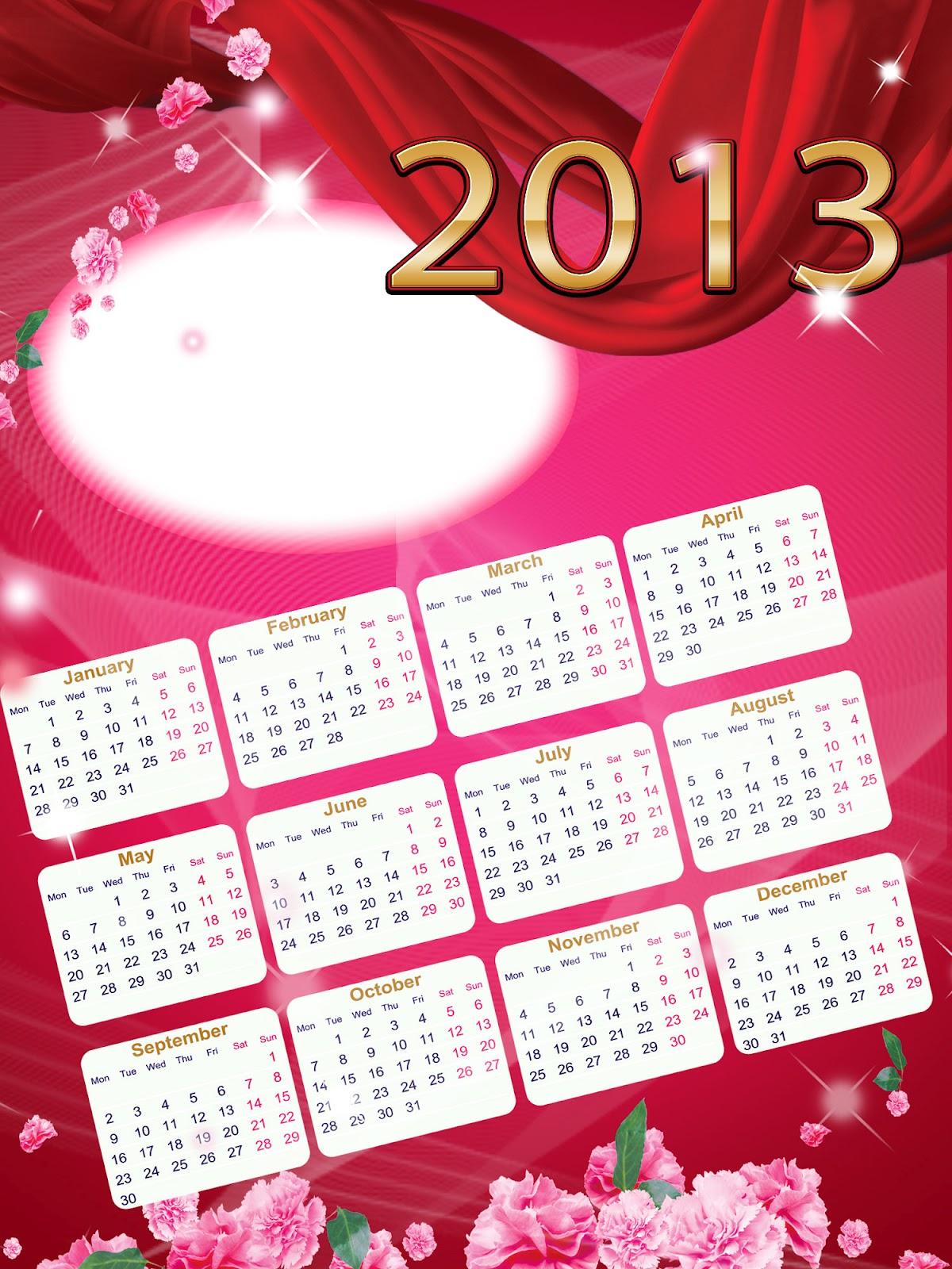 Calendario del año 2013 para fotomontajes