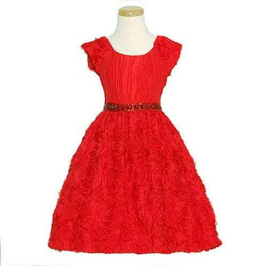 Christmas Dress on Red Floral Soutache Holiday Christmas Dress Girls 7 16   Red Holiday