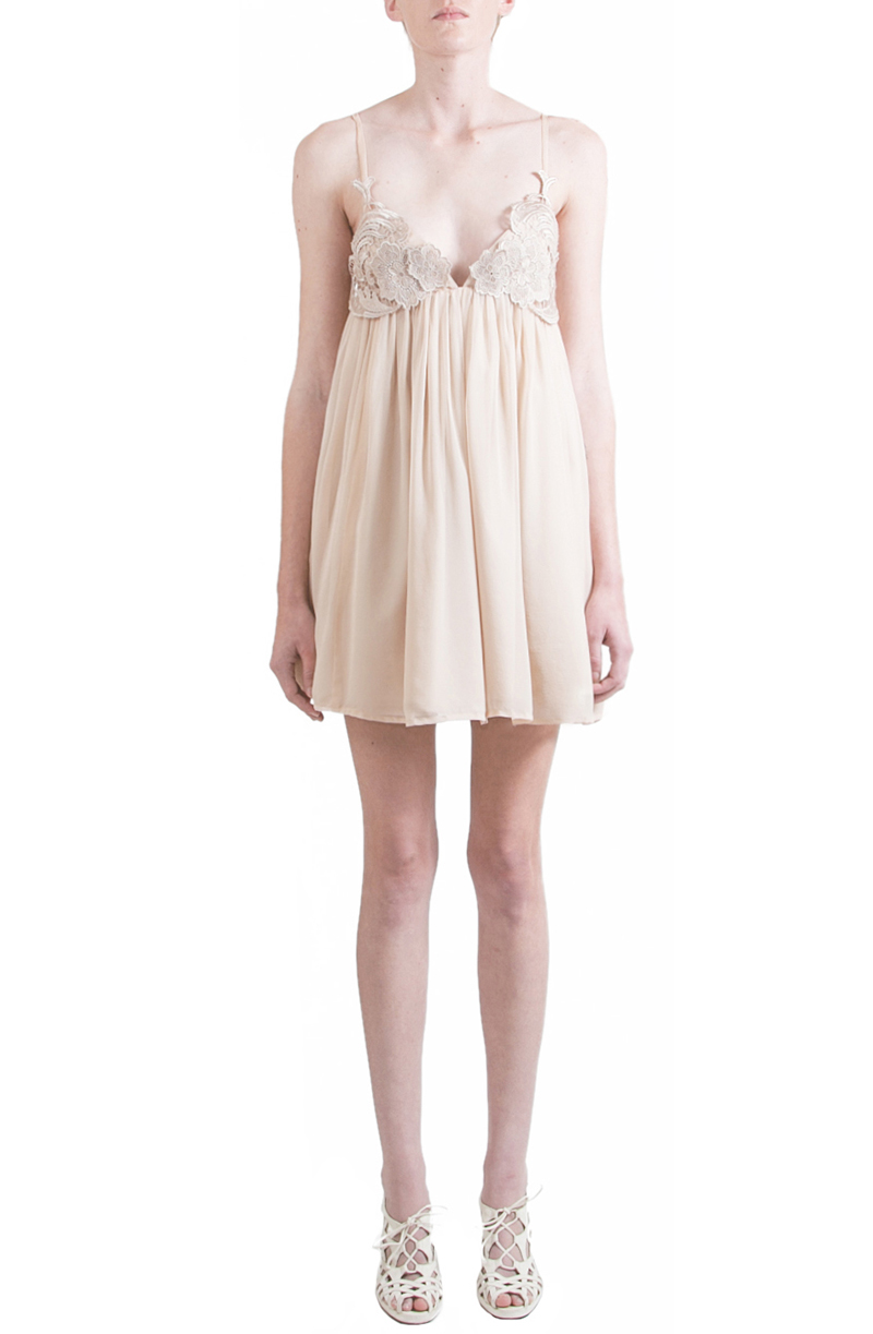 Alyssa Nicole Spring 2015, Silk Slip Dress, Nude Chiffon Dress, Silk Chiffon Dress, Luxury Womenswear Collection