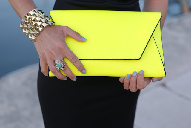 Zara neon yellow clutch, Chanel Coco blue nail polish, Juicy Couture ring, Fashion and Cookies