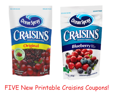 FIVE New Craisins Coupons!  Yummy :)