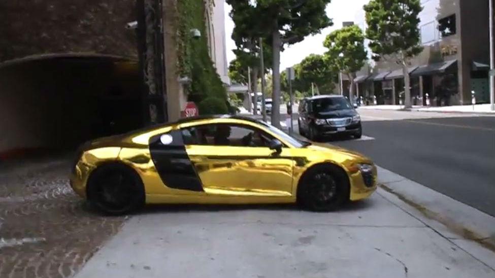 Tyga Golden Chrome Audi R8   Latest Automotive News on tyga gold audi, tyga lamborghini crash, tyga and chris brown lamborghini aventador, tyga crashes his lamborghini,
