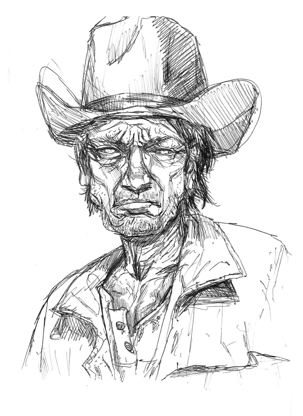 Cowboy sketch drawings - photo#15