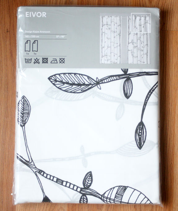 curtains, drapes, cheap curtains, bird print, branch print, black and white