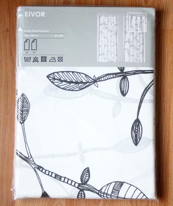 Curtains, Drapes, Cheap Curtains, Bird Print, Branch Print, Black And White