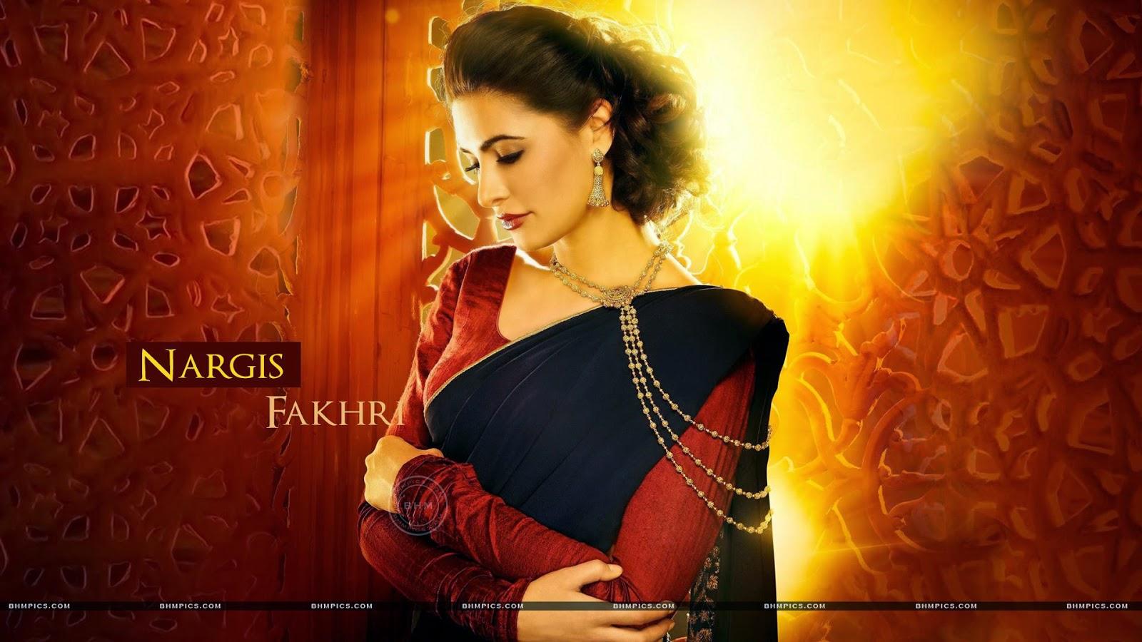 HD Nargis Fakhri In Black Saree Wallpapers