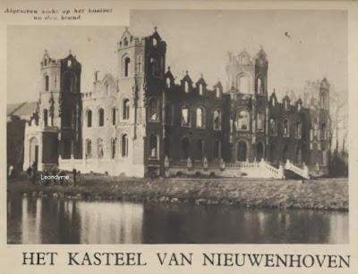 Algemeen zicht van het kasteel na de brand
