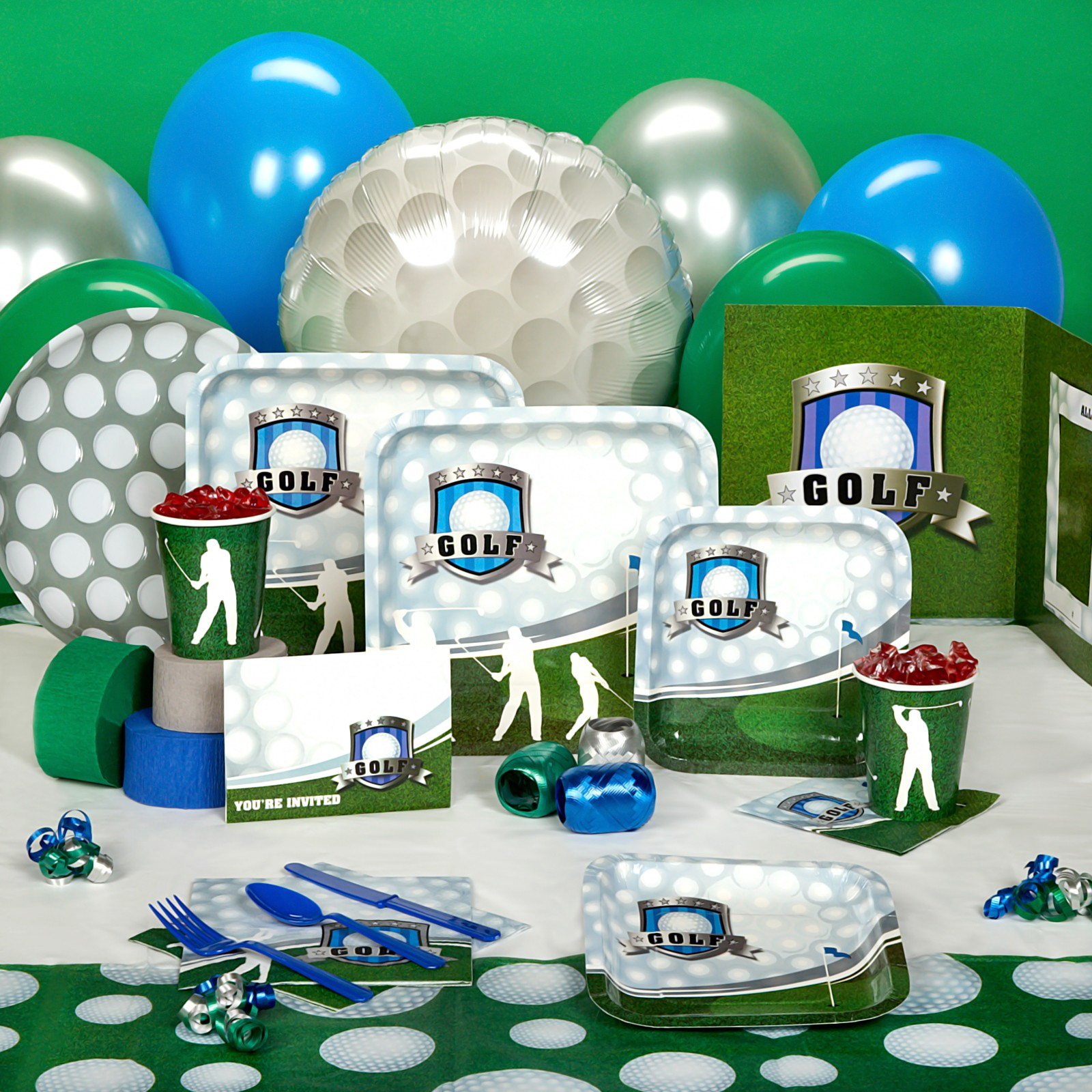 Bear river photo greetings golf birthday party invitation for Decoration goods