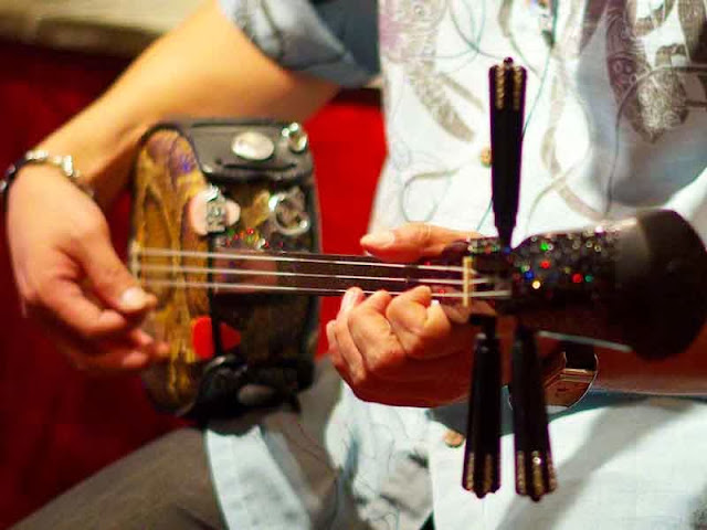 close up of sanshin being strummed