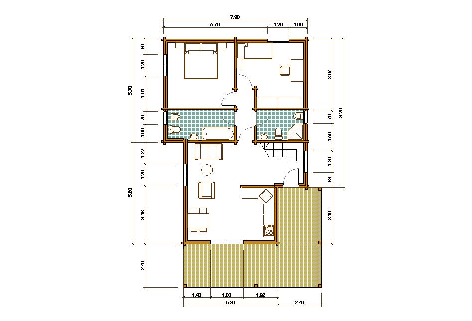 Progetti di case in legno casa 137 mq portico 29 mq - Progetto casa 80 mq ...