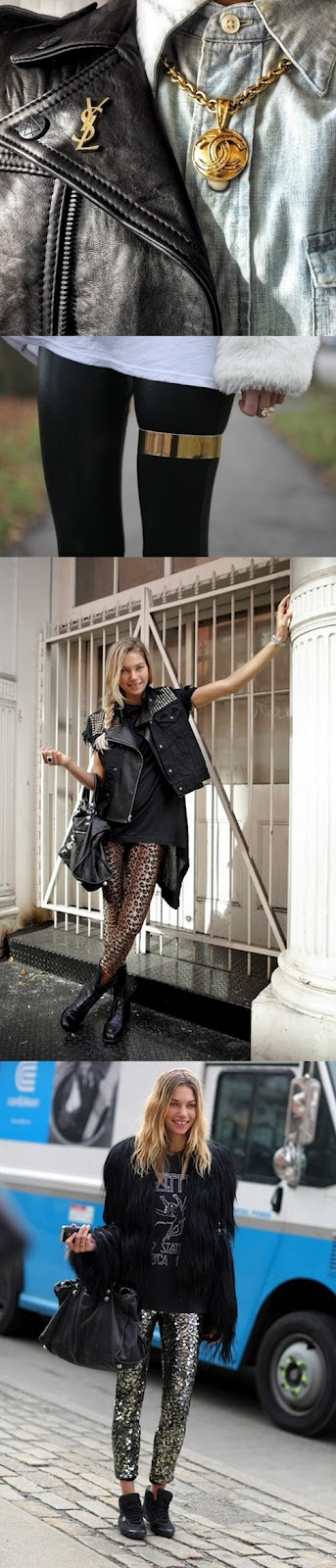Sequin Pants, Studded Leather Vest, YSL, Jessica Hart