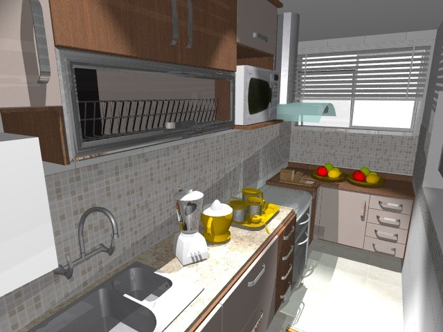 """"""" frontal à bancada da pia, faz a ligação desta cozinha com a sala"""