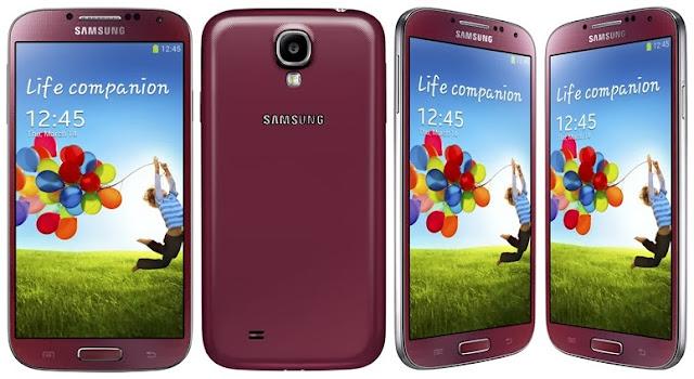 Samsung Galaxy S4 disponible en Blanco hielo, rosa crepúsculo, negro niebla, rojo aurora, marron otoño, azul ártico y púrpura espejo