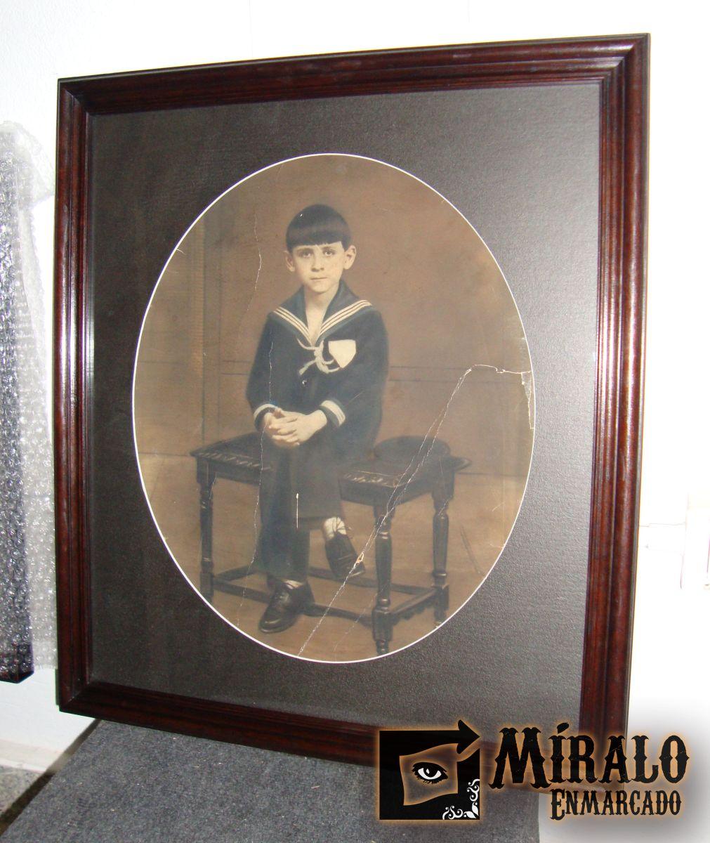 Enmarcado de foto antigua marco lustrado y passepartout - Marco foto antigua ...