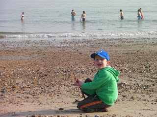 swimming in the sea in March at low tide