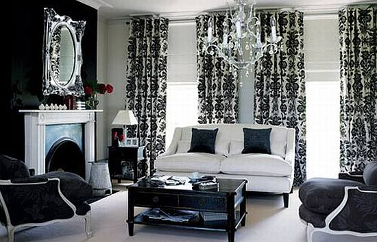 Living room design black and grey living room for Grey black and white living room