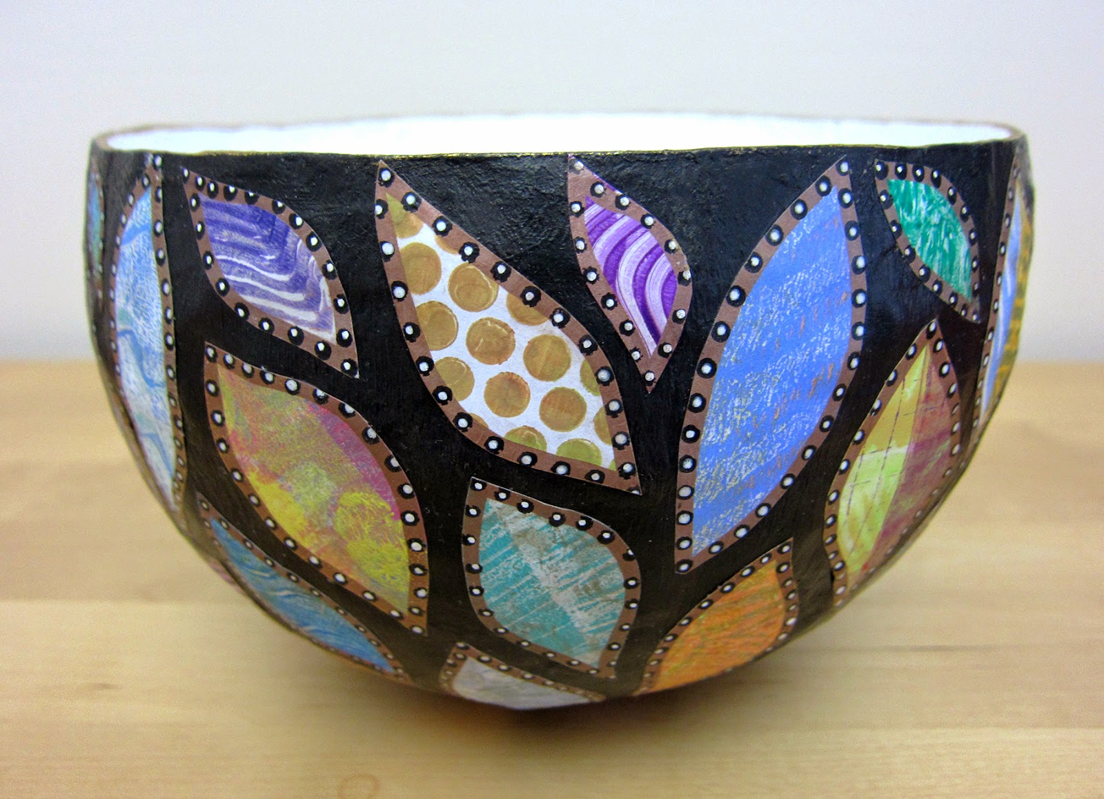 Paper Mache Decorating Printing With Gelli Artsr Paper Mache Bowls With Gelli Prints