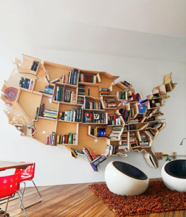 Tout sauf ordinaire: ici le designer Andrei Saltykov exprime son amour pour les Etats-Unis à travers cette bibliothèque