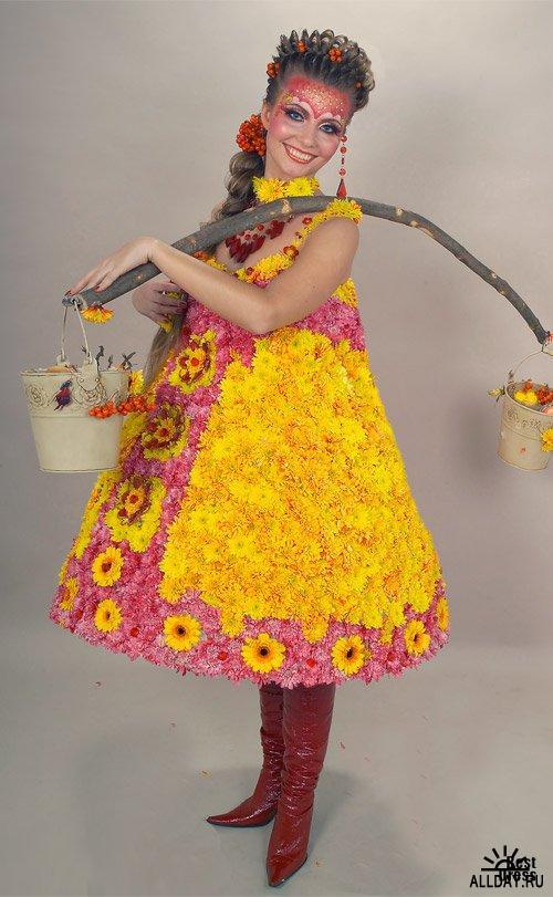 Как из пакетов украсить платье