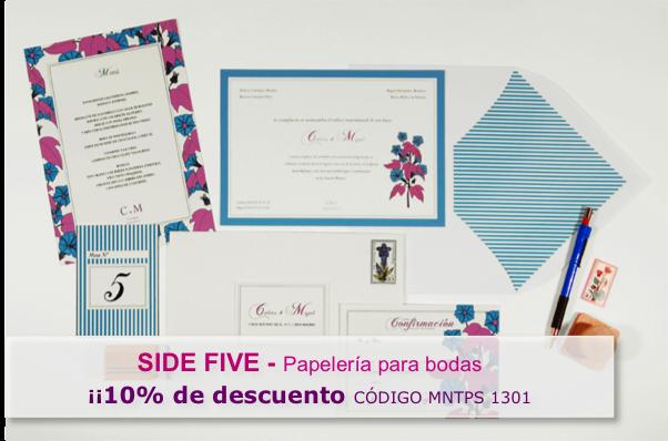 10% descuento en papelería de bodas SIDE FIVE para lectoras de Momentips
