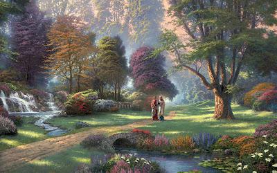 Jesús caminando por las tierras del paraíso (Wallpaper) - Imágenes Religiosas - Cristo