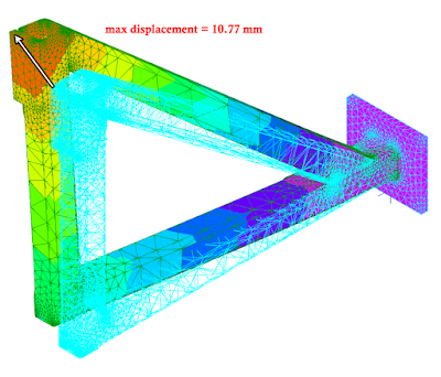 finite element result showing less displacement of design B