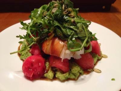 Lobster Guac and watermelon salad