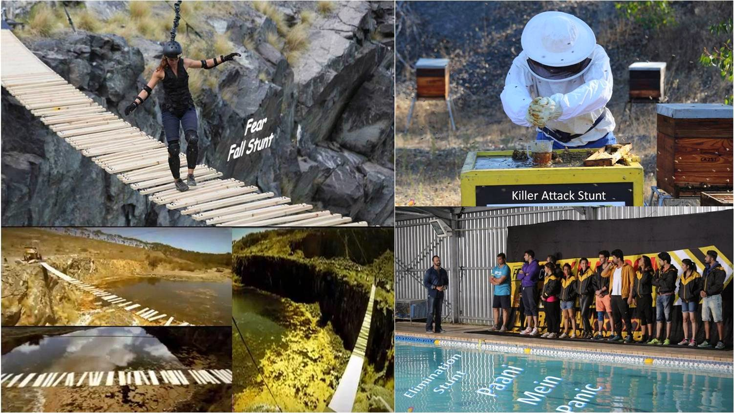 Fear Factor Khatron Ke Khiladi contestants performing stunts with mount kissing height, bees and cockroaches