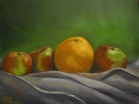 """The Orange"", a fruit still life"