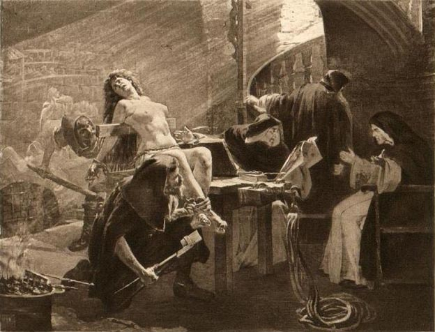 he Inquisition torturing an accused witch (19th century print of uncertain origin)