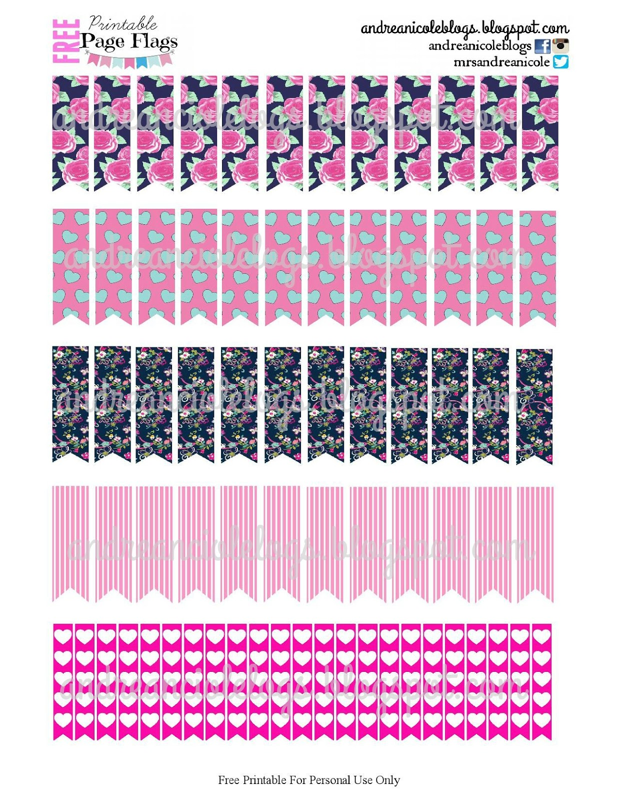 Andrea Nicole Free Printable Page Flags