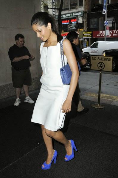 Freida Pinto' wearing blue high heels white mini skirt and white tight bra black panty hot pics bollywood actress exposed hot pics