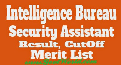 IB Security Assistant Result 2017 Cut Off Marks Merit List