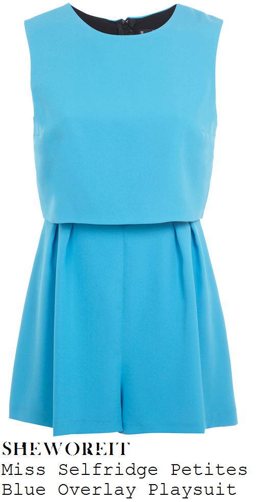 frankie-sandford-bright-blue-tailored-sleeveless-overlay-playsuit-this-morning