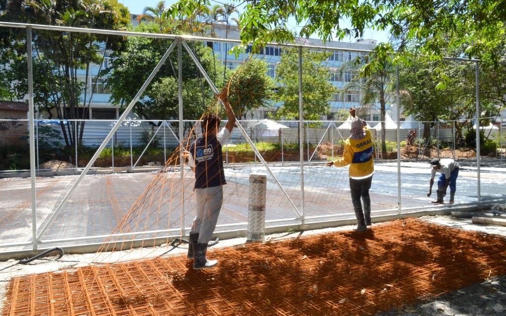 Praça Olímpica de Teresópolis RJ entra na fase de concretagem das quadras esportivas