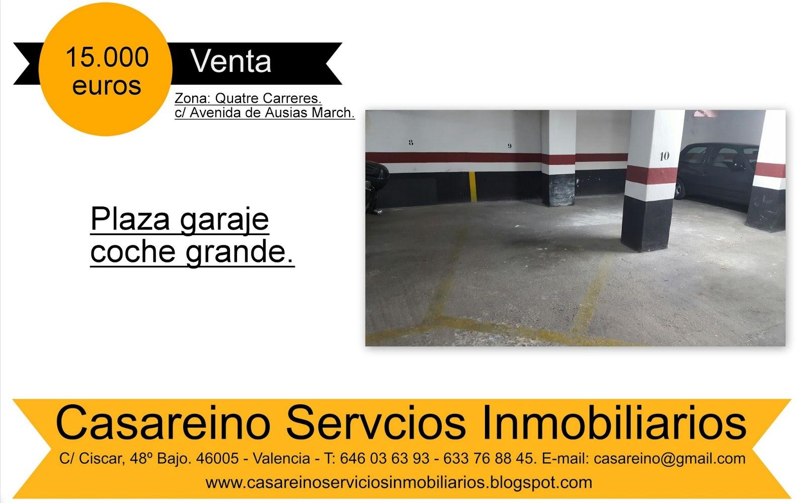 Casareino servicios inmobiliarios venta plazas de garaje en ausias march new octubre 2015 - Venta de plazas de garaje ...