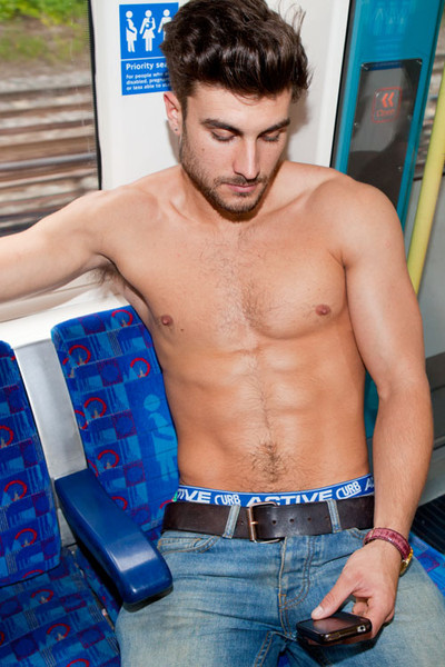 Curbwear underwear photos on London subway