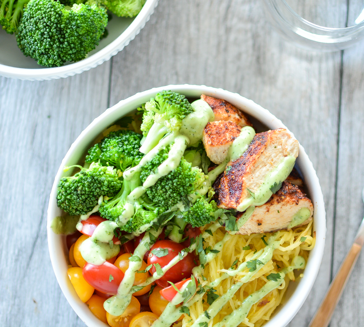 """Paleo Spaghetti Squash """"Noodle"""" Bowls with Spicy Chicken"""