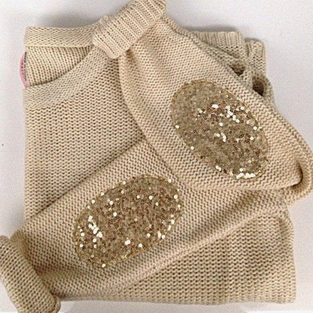 Adorable sweaters with sparkly elbow patches