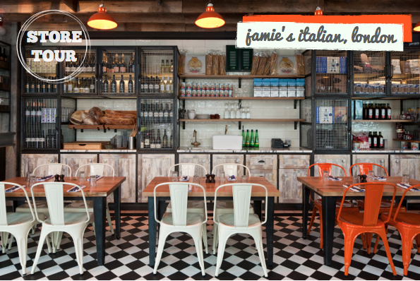 Store tour jamie oliver 39 s industrial italian bright for Jamie oliver style kitchen design