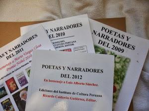 Antologias  Poetas y Narradores del 2009, 2010, 2011, 2012, 2013