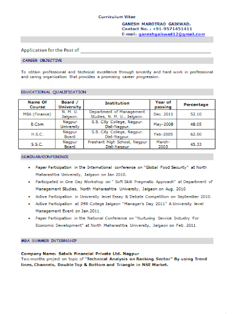 MBA Fresher Resume – Objectives for Resume for Freshers