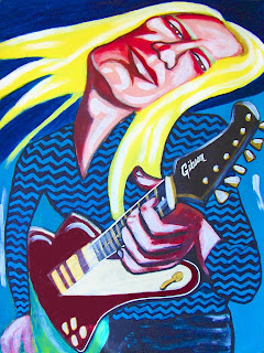 Guitarist Johnny Winter Painting