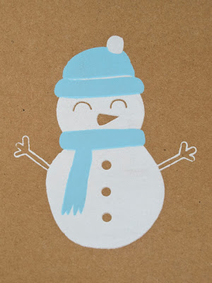 Happy Snowman screen printed card 3