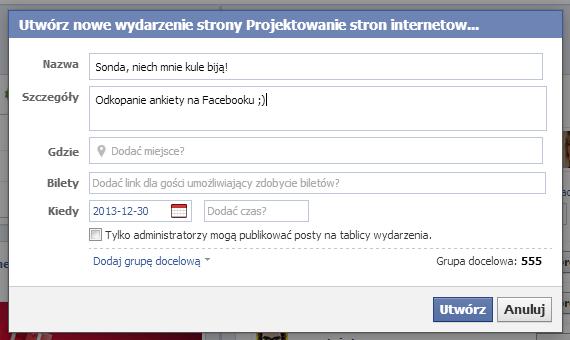 tworzenie nowego wydarzenia na Facebooku
