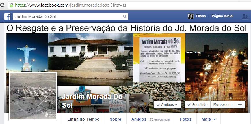 História do Jardim Morada do Sol no Facebook