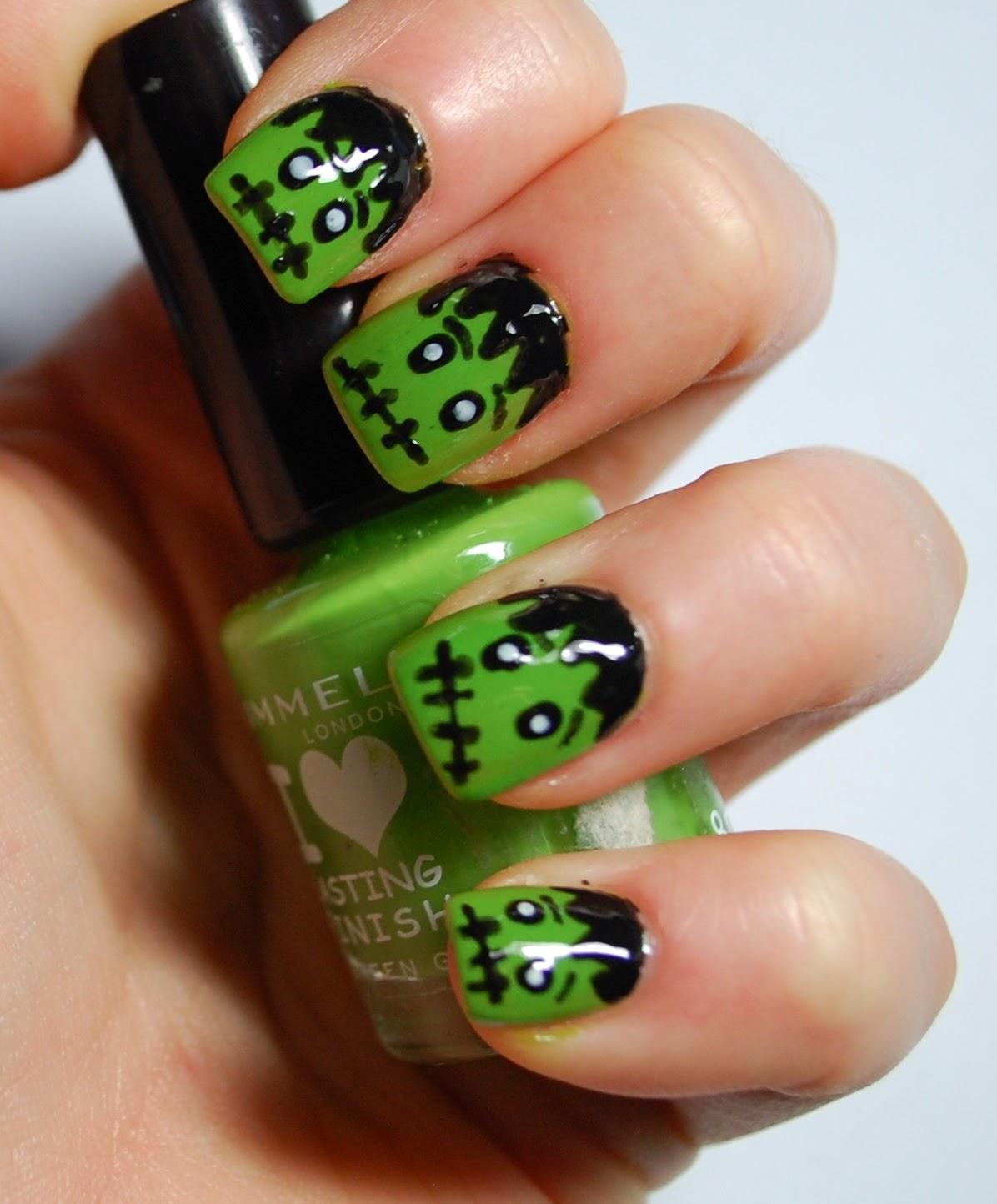 In Samazement Halloween Frankenstein Nail Art