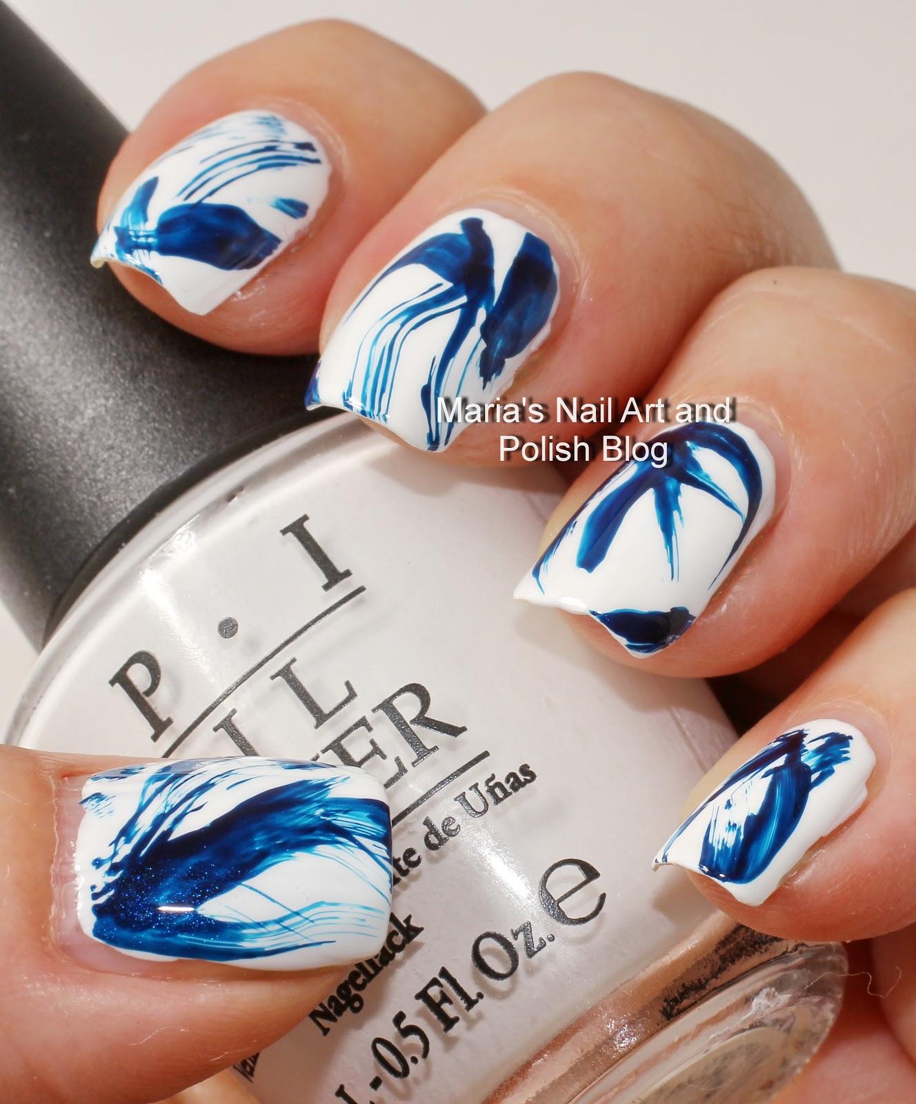 Marias nail art and polish blog blue and white brush stroke nail art blue and white brush stroke nail art prinsesfo Images
