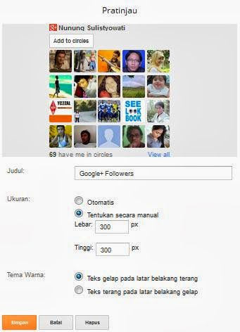 Pratinjau Gadget Google Plus Follower