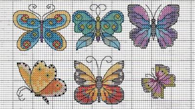 Kanaviçe üzerine kelebek desenleri